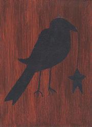 Art: Primitive Crow by Artist Dee Turner