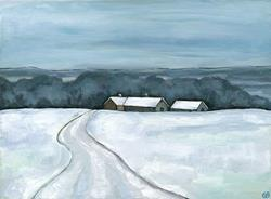 Art: Winter Road by Artist Gintare Bruzas