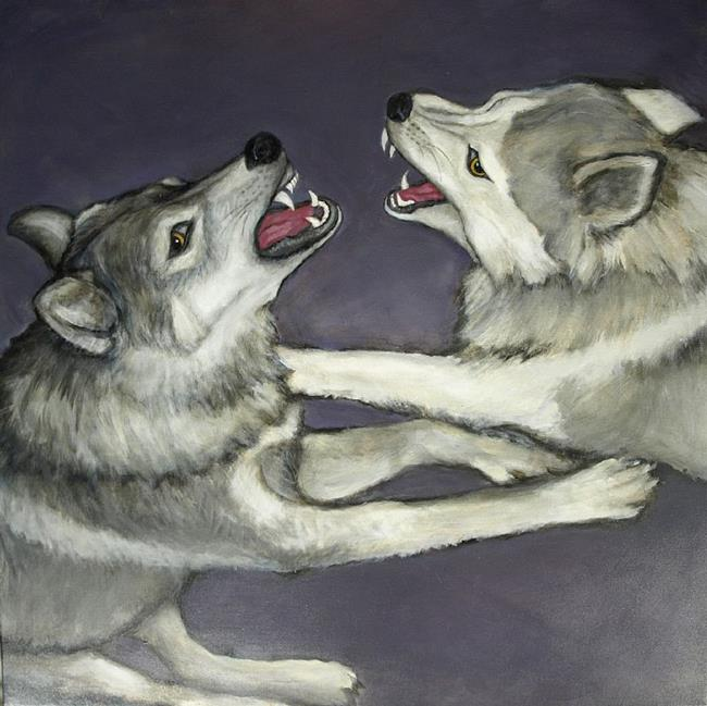 Art: Thor and Goldie; aka Aggression Submission III by Artist Virginia Ann Zuelsdorf