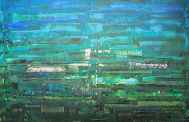 Art: Blue - Green Abstraction (s) by Artist Luba Lubin
