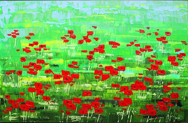 Art: Red Poppy Field (s) by Artist Luba Lubin