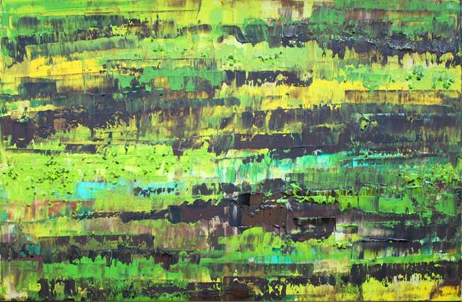 Art: Lime Green Brown Abstraction (s) by Artist Luba Lubin