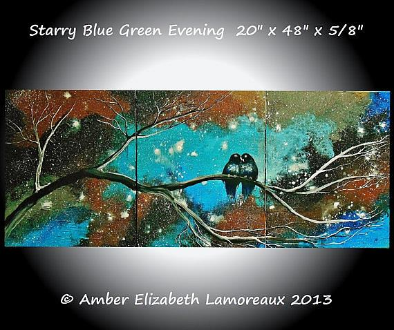 Art: Starry Blue Green Evening (sold) by Artist Amber Elizabeth Lamoreaux