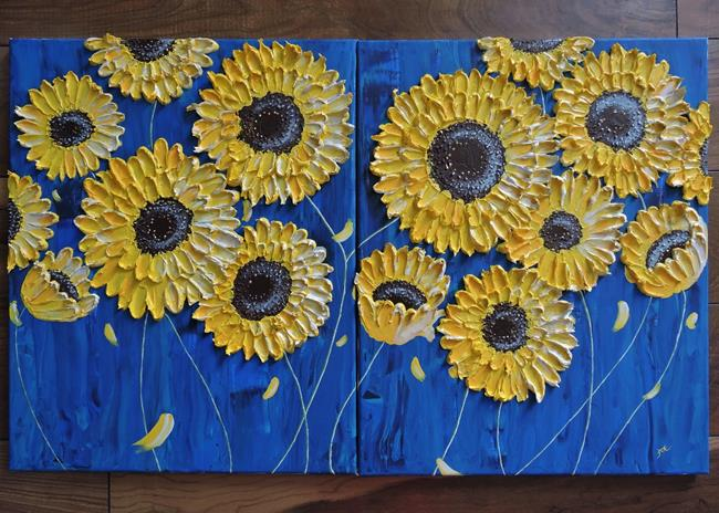 Art: Sunflowers in the Rain (sold) by Artist Amber Elizabeth Lamoreaux