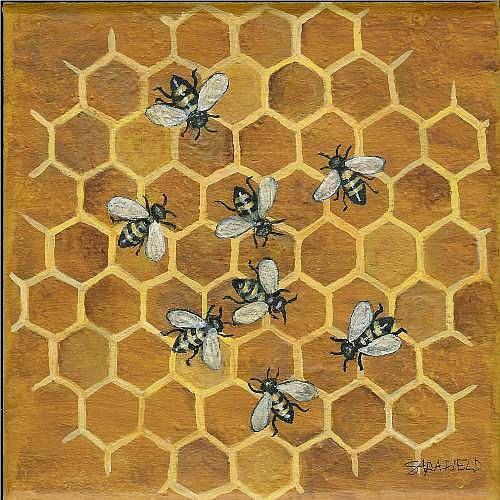 Art: Honey Bees by Artist Sara Field