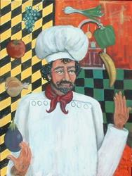 Art: Juggling Chef by Kilpatrick by Artist Virginia Kilpatrick
