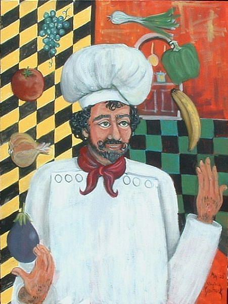 Art: Juggling Chef by Kilpatrick by Artist Virginia Kilpatrick