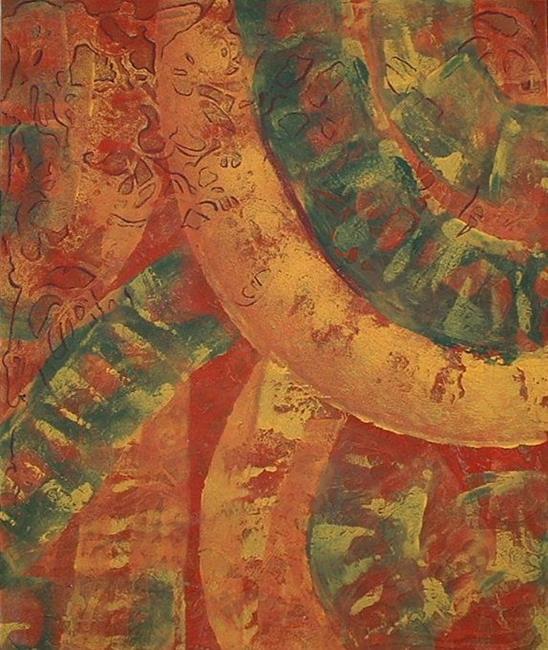 Art:  Orange Textured Abstract by Artist Virginia Kilpatrick