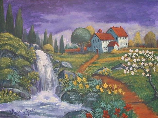 Art: Old Schoolhouse With Waterfall by Artist Virginia Kilpatrick