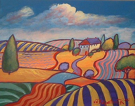 Art: Home In Yellow Yard by Artist Virginia Kilpatrick