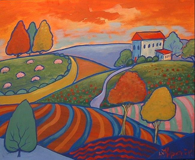 Art: Orange Sky Yellow Road by Artist Virginia Kilpatrick