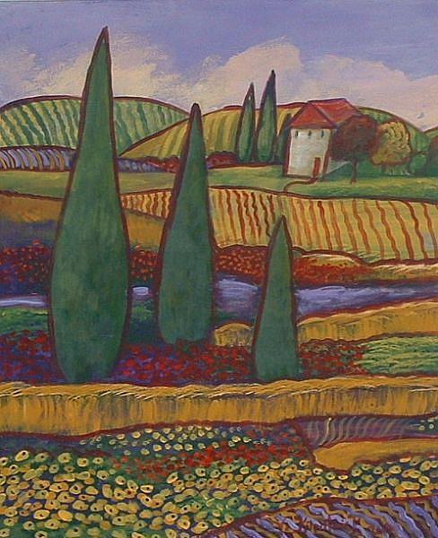 Art: Paysage Rouge De Pavot by Artist Virginia Kilpatrick
