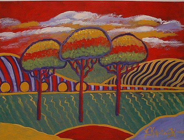 Art: Three Trees , Red Sky by Artist Virginia Kilpatrick