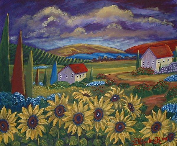 Art: Sunflower Landscape by Artist Virginia Kilpatrick