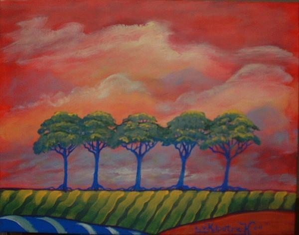 Art: Five Trees  by Artist Virginia Kilpatrick