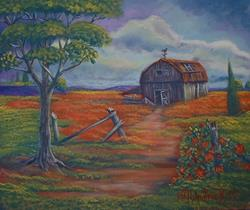Art:  Old Barn With Tree by Kilpatrick by Artist Virginia Kilpatrick