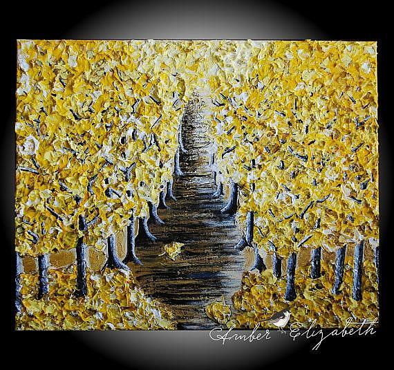 Art: Yellow Autumn (sold) by Artist Amber Elizabeth Lamoreaux