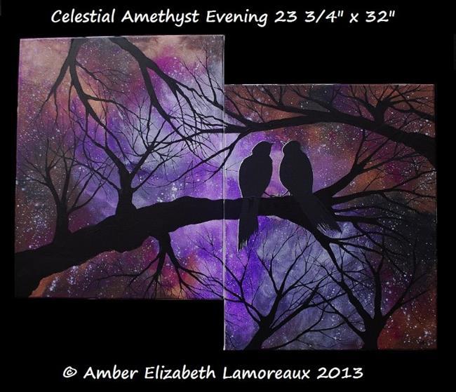 Art: Celestial Amethyst Evening (Sold) by Artist Amber Elizabeth Lamoreaux
