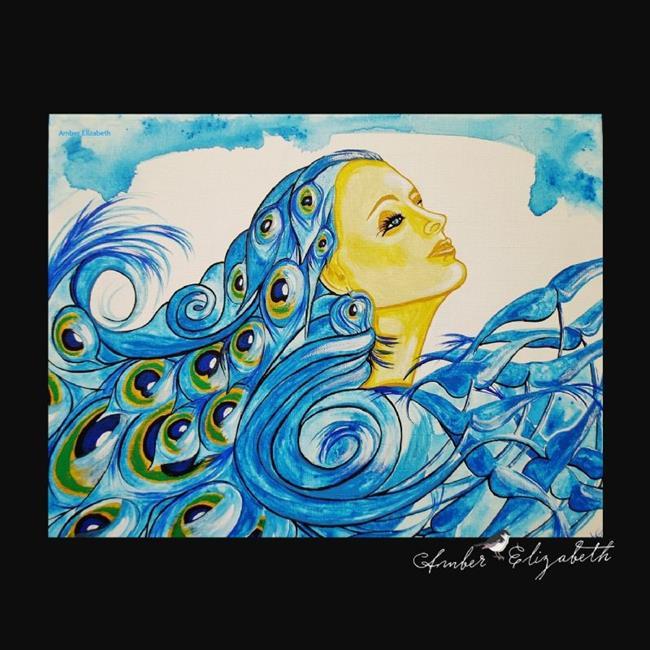 Art: Lady Peacock (sold) by Artist Amber Elizabeth Lamoreaux