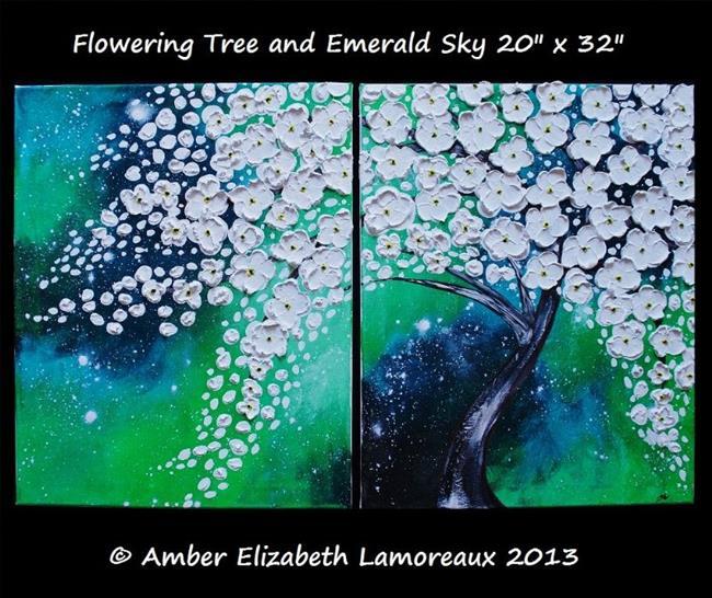 Art: Flowering Tree and Emerald Sky (sold) by Artist Amber Elizabeth Lamoreaux