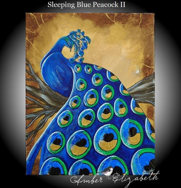 Art: Sleeping Blue Peacock II (sold) by Artist Amber Elizabeth Lamoreaux