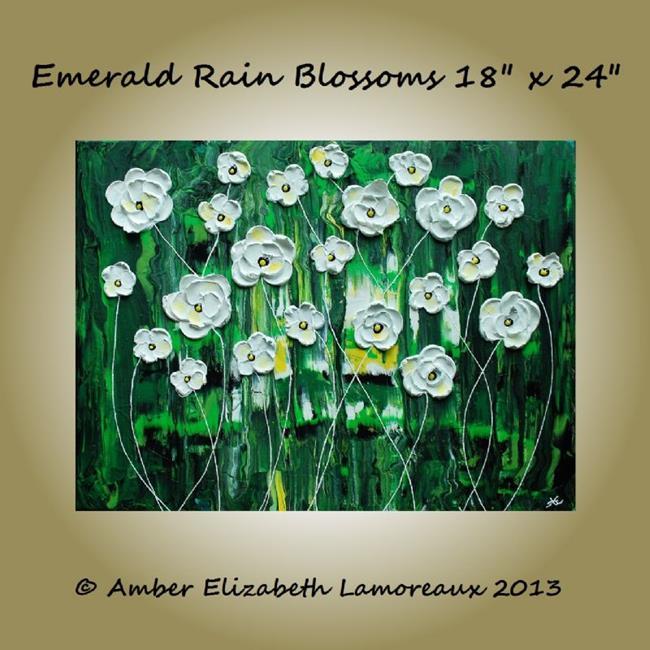 Art: Emerald Rain Blossoms (sold) by Artist Amber Elizabeth Lamoreaux