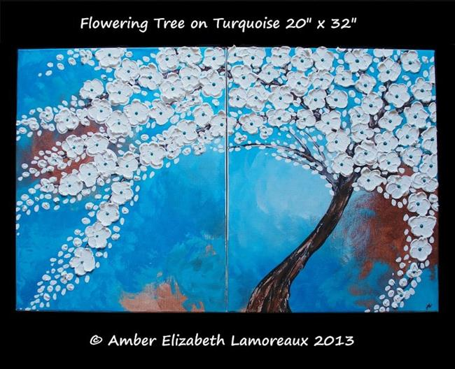 Art: Flowering Tree on Turquoise (sold) by Artist Amber Elizabeth Lamoreaux