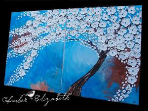 Detail Image for art Flowering Tree on Turquoise (sold)
