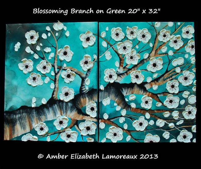 Art: Blossoming Branch on Green (sold) by Artist Amber Elizabeth Lamoreaux