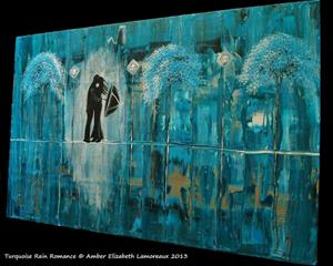 Detail Image for art Turquoise Rain Romance (sold)