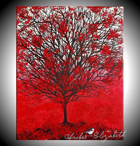 Art: Red Autumn by Artist Amber Elizabeth Lamoreaux