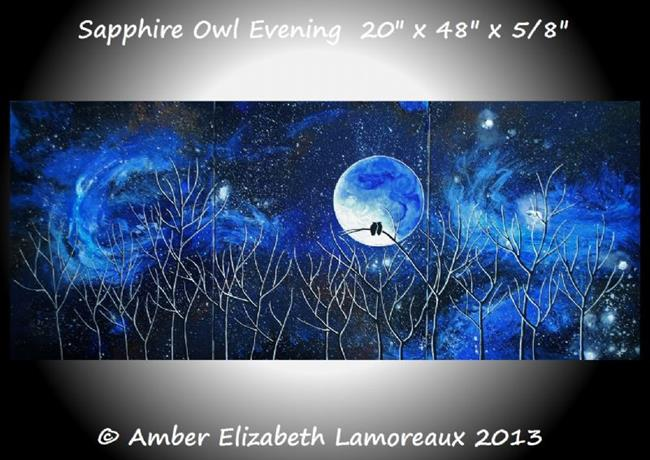 Art: Sapphire Owl Evening (sold) by Artist Amber Elizabeth Lamoreaux