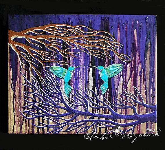 Art: It Rained Purple (Sold) by Artist Amber Elizabeth Lamoreaux