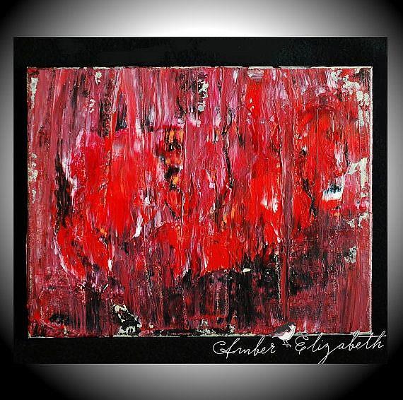 Art: Red Figures in the Rain (sold) by Artist Amber Elizabeth Lamoreaux