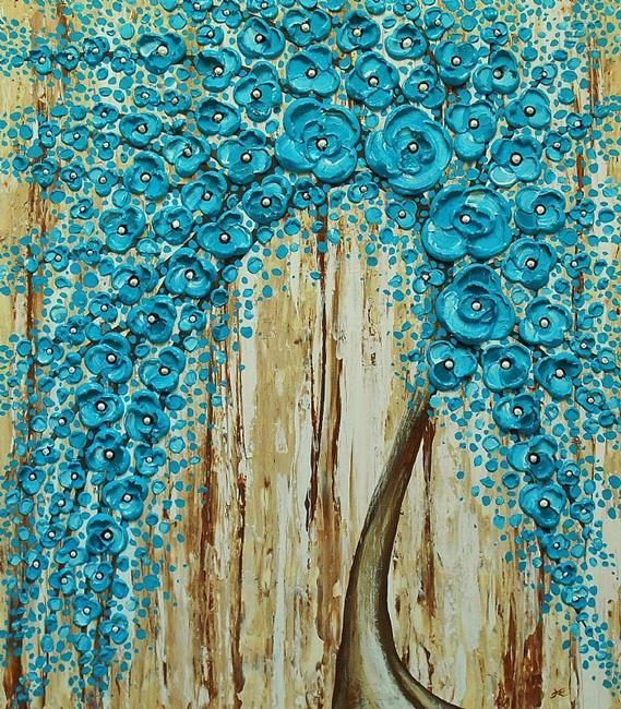 Art: Rainy Water Blossom Tree (sold) by Artist Amber Elizabeth Lamoreaux