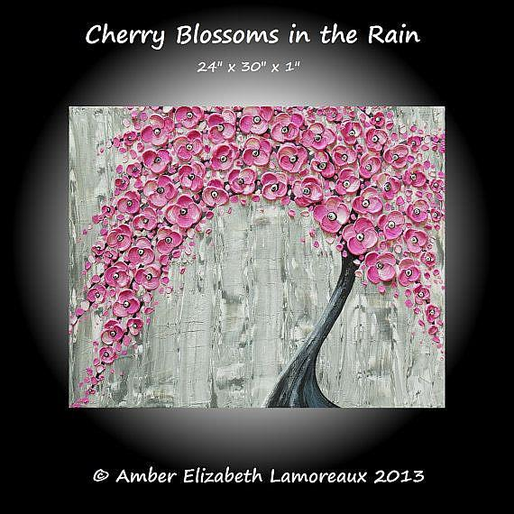 Art: Cherry Blossoms in the Rain (sold) by Artist Amber Elizabeth Lamoreaux