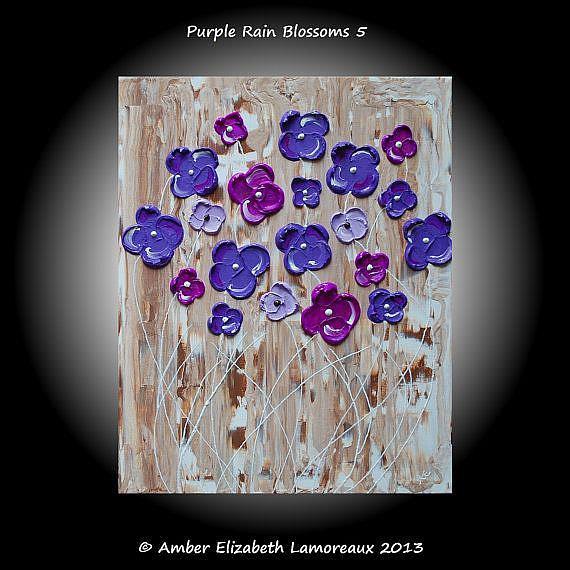 Art: Purple Rain Blossoms V (sold) by Artist Amber Elizabeth Lamoreaux