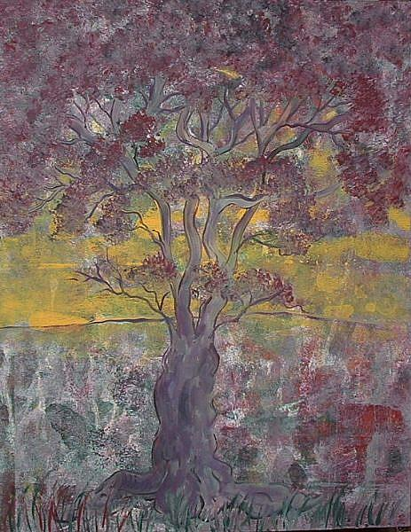 Art: Purple Tree Sunset by Artist Virginia Kilpatrick