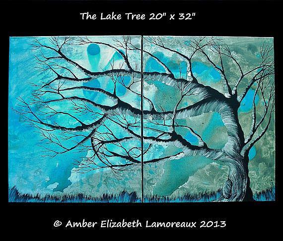 Art: The Lake Tree (sold) by Artist Amber Elizabeth Lamoreaux