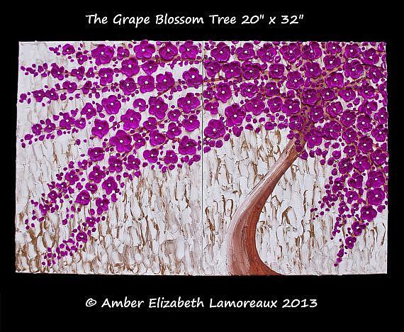 Art: The Grape Blossom Tree (sold) by Artist Amber Elizabeth Lamoreaux