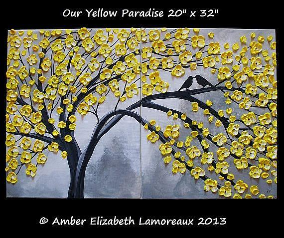 Art: Our Yellow Paradise (sold) by Artist Amber Elizabeth Lamoreaux