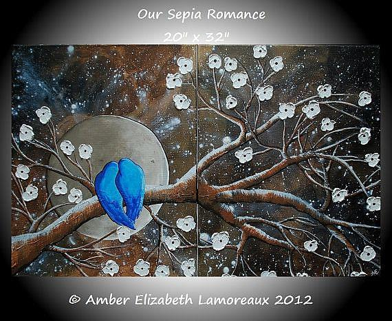 Art: Our Sepia Romance (sold) by Artist Amber Elizabeth Lamoreaux