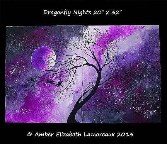 Art: Dragonfly Nights (sold) by Artist Amber Elizabeth Lamoreaux