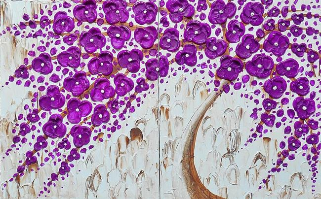 Art: Grape Blossom Tree II (sold) by Artist Amber Elizabeth Lamoreaux