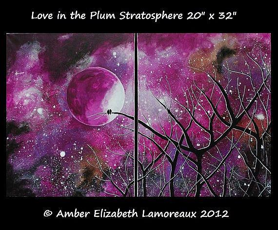 Art: Love in the Plum Stratosphere (sold) by Artist Amber Elizabeth Lamoreaux