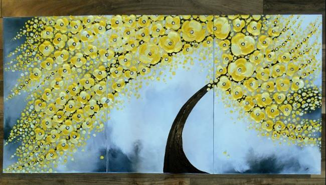 Art: Yellow Serenity II (sold) by Artist Amber Elizabeth Lamoreaux
