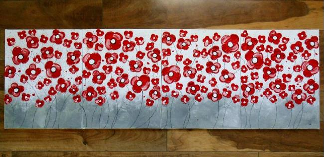 Art: Red Poppies on Gray (sold) by Artist Amber Elizabeth Lamoreaux