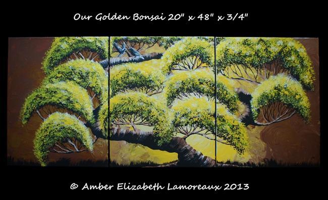 Art: Our Golden Bonsai (sold) by Artist Amber Elizabeth Lamoreaux