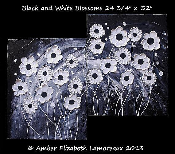 Art: Black and White Blossoms (sold) by Artist Amber Elizabeth Lamoreaux