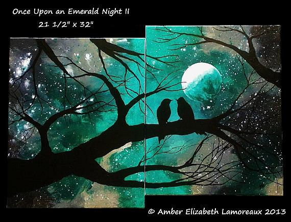 Art: Once Upon an Emerald Night II (sold) by Artist Amber Elizabeth Lamoreaux